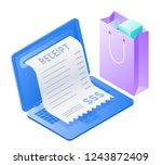 the laptop  online bill payment ... | Shutterstock . vector #1243872409