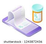 the smart phone  doctor online... | Shutterstock . vector #1243872436