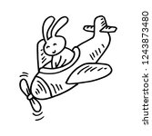 cute rabbit flying on an... | Shutterstock .eps vector #1243873480