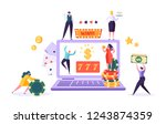 Online Gambling Internet Casino Concept. People Characters with Roulette, Chips, Slots, Dice, Jackpot. Man and Woman Playing Casino using Laptop. Vector Illustration - stock vector