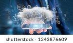 view of a businessman holding a ... | Shutterstock . vector #1243876609