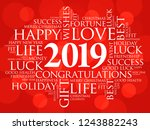 2019 year greeting word cloud... | Shutterstock .eps vector #1243882243