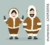 couple eskimo  in flat design | Shutterstock .eps vector #1243920556