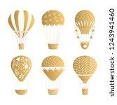 set of hot air balloons. golden ... | Shutterstock .eps vector #1243941460