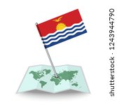 map with flag of kiribati...