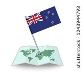 map with flag of new zealand...