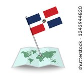 map with flag of dominican...