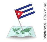 map with flag of cuba isolated...