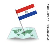 map with flag of paraguay...