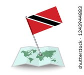 map with flag of trinidad and...