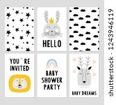 set of baby shower cards | Shutterstock .eps vector #1243946119