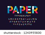colorful paper font  alphabet... | Shutterstock .eps vector #1243955830