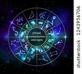 zodiac circle with astrology... | Shutterstock .eps vector #1243956706