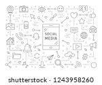 social media icons set. linear...