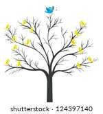 Tree of Blue-bird king with yellow bird watching (network tree)