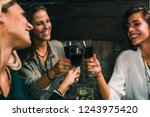 red wine toasting. female... | Shutterstock . vector #1243975420