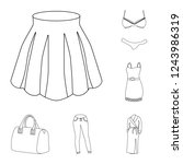 women clothing outline icons in ... | Shutterstock . vector #1243986319