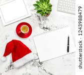 office desk with christmas...   Shutterstock . vector #1243988479