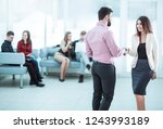 welcome handshake manager and... | Shutterstock . vector #1243993189