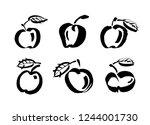 apple vector sketch icon... | Shutterstock .eps vector #1244001730