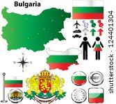 Vector set of Bulgaria country shape with flags, buttons and icons isolated on white background