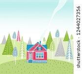 summer landscape seamless...   Shutterstock .eps vector #1244027356