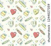 hand drawn christmas pattern...   Shutterstock .eps vector #1244027359
