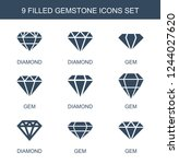 gemstone icons. set of 9 filled ... | Shutterstock .eps vector #1244027620