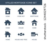 mortgage icons. set of 9 filled ... | Shutterstock .eps vector #1244029726