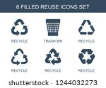reuse icons. set of 6 filled...   Shutterstock .eps vector #1244032273
