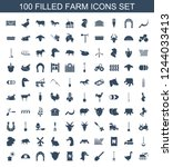 farm icons. set of 100 filled...   Shutterstock .eps vector #1244033413