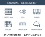 pile icons. set of 6 outline...   Shutterstock .eps vector #1244033416
