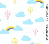 balloons in the clouds. baby... | Shutterstock .eps vector #1244042893