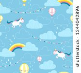 magic unicorn in the clouds.... | Shutterstock .eps vector #1244042896