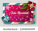 feliz navidad y prospero ano... | Shutterstock .eps vector #1244043439