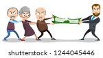 cartoon pensioners and young... | Shutterstock .eps vector #1244045446