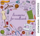set of tools for needlework and ... | Shutterstock .eps vector #1244045503