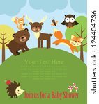 Stock vector baby shower card design forest friends vector illustration 124404736