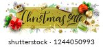 christmas sale vector golden... | Shutterstock .eps vector #1244050993