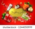 christmas sale vector card.... | Shutterstock .eps vector #1244050999