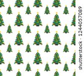seamless pattern with christmas ... | Shutterstock .eps vector #1244057089