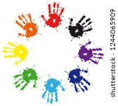 print of hand from ink colorful ...   Shutterstock .eps vector #1244065909