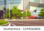 city empty street skyscraper... | Shutterstock .eps vector #1244066806