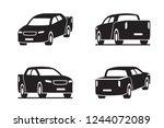 pickup truck in perspective  ... | Shutterstock .eps vector #1244072089