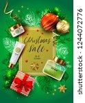 christmas sale vector card.... | Shutterstock .eps vector #1244072776