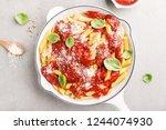 tasty appetizing italian pasta... | Shutterstock . vector #1244074930