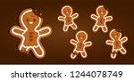 gingerbread man character... | Shutterstock .eps vector #1244078749