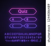 quiz question neon light icon.... | Shutterstock .eps vector #1244086489