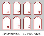 christmas gift tags. collection ... | Shutterstock .eps vector #1244087326