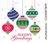 colorful christmas baubles... | Shutterstock .eps vector #1244087809